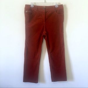 CHICO'S Rust Burnt Orange Corduroy Pants Size 6